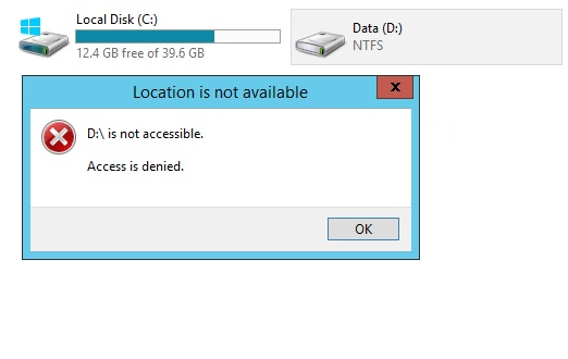 Access Denied to data drive for an Administrator - Server 2016