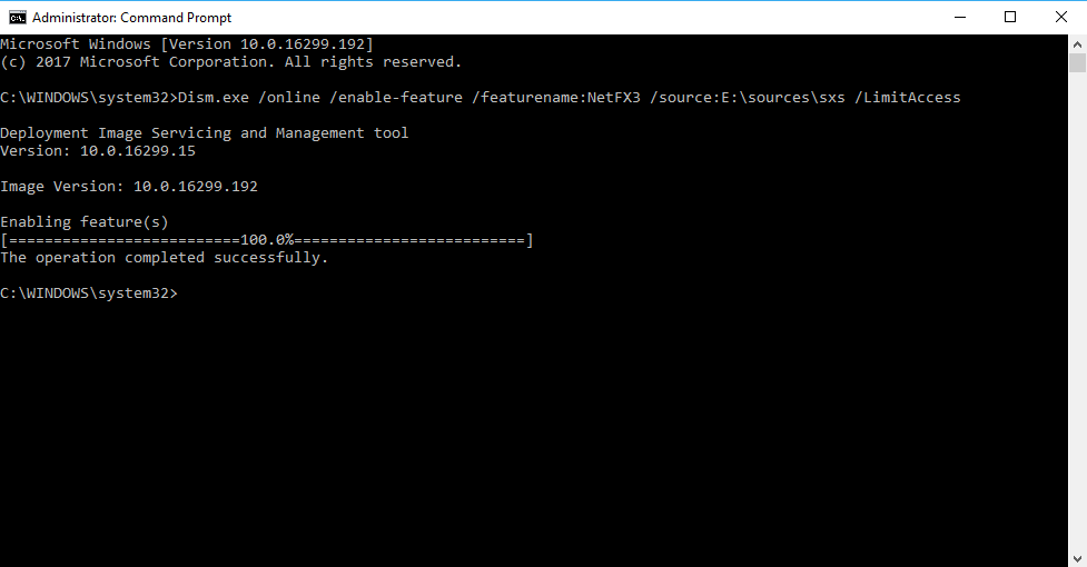 Install .net 3.5 Offline in Windows 10 - The operation complete successfully.